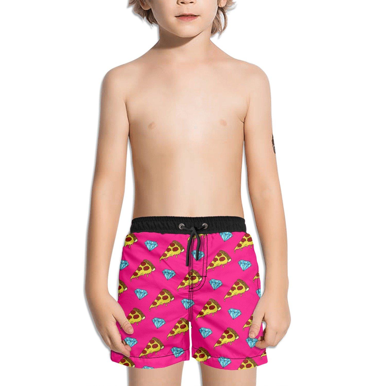 Trum Namii Boys Quick Dry Swim Trunks Pizza and Diamond Shorts