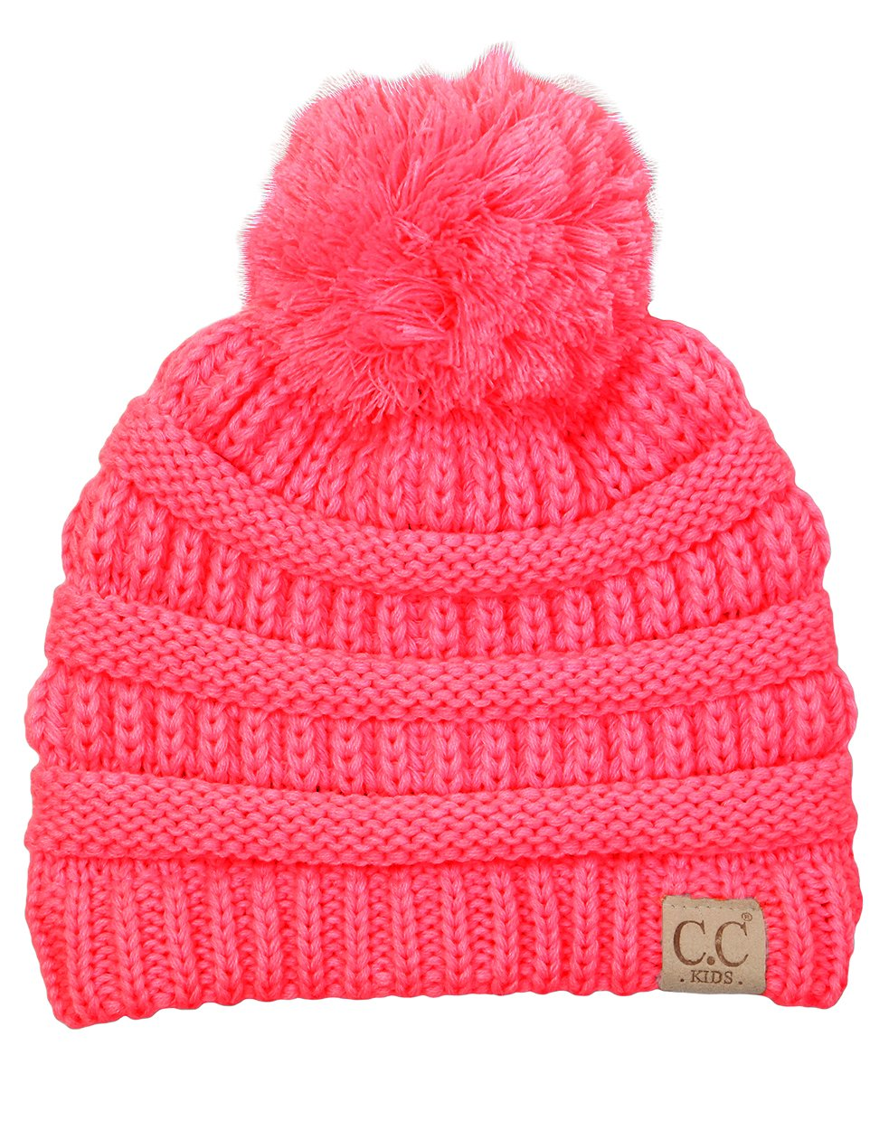 H-6847-37 Girls Winter Hat Warm Knit Slouchy Toddler Kid Pom Beanie - Candy Pink