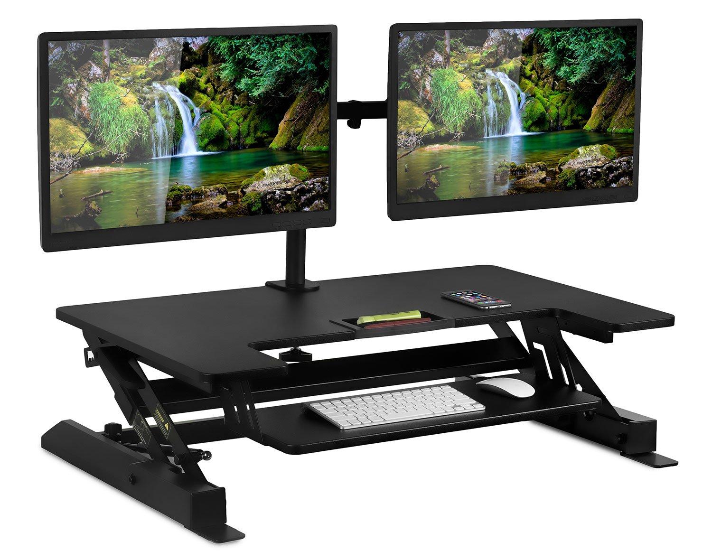 Mount-It! Sit Stand Workstation Standing Desk Converter With Dual Monitor Mount Combo, Ergonomic Height Adjustable Tabletop Desk, Black (MI-7934)Black (Sit-Stand + 2 Monitor Mount)