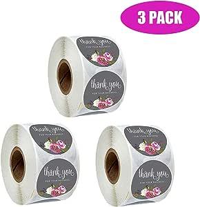 Coocnh - 500 pegatinas de papel kraft con etiquetas redondas de lámina dorada para tienda pequeña, hechas a mano Flor.: Amazon.es: Hogar