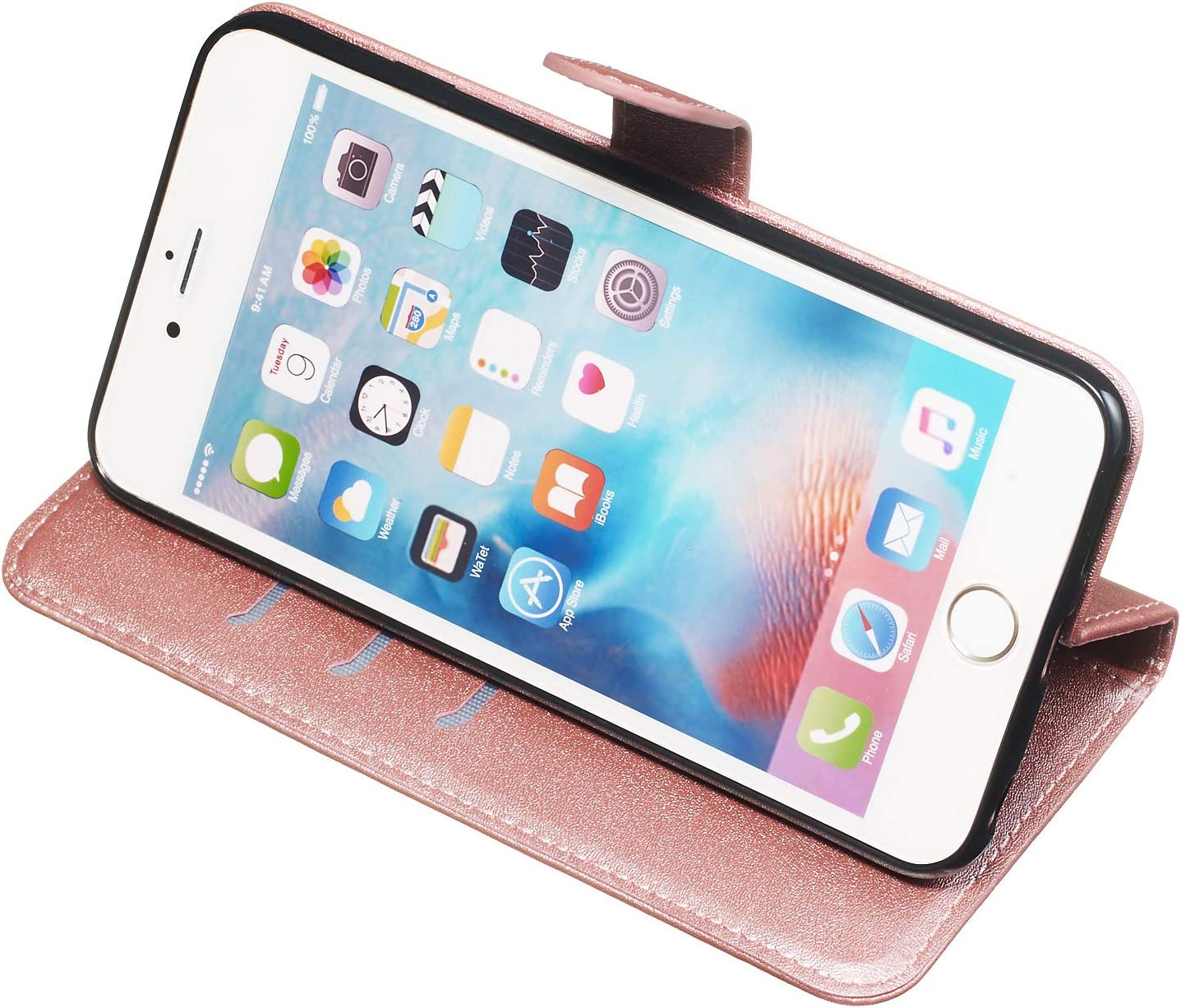 6 Plus LOYYO070007 Blue Lomogo iPhone 6S Plus 6 Plus Case Leather Wallet Case with Kickstand Card Holder Shockproof Flip Case Cover for Apple iPhone 6S Plus