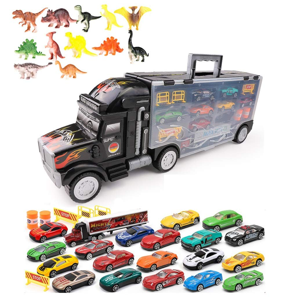 2 Toy Truck Transport Car Carrier  Toy Truck Includes 13 19 25 37 Toy Cars and Accessories  Great Car Toys Gift for Boys and Girls (Give 12 Dinosaur Toys, Road Signs and Game Drawings) (color   2)