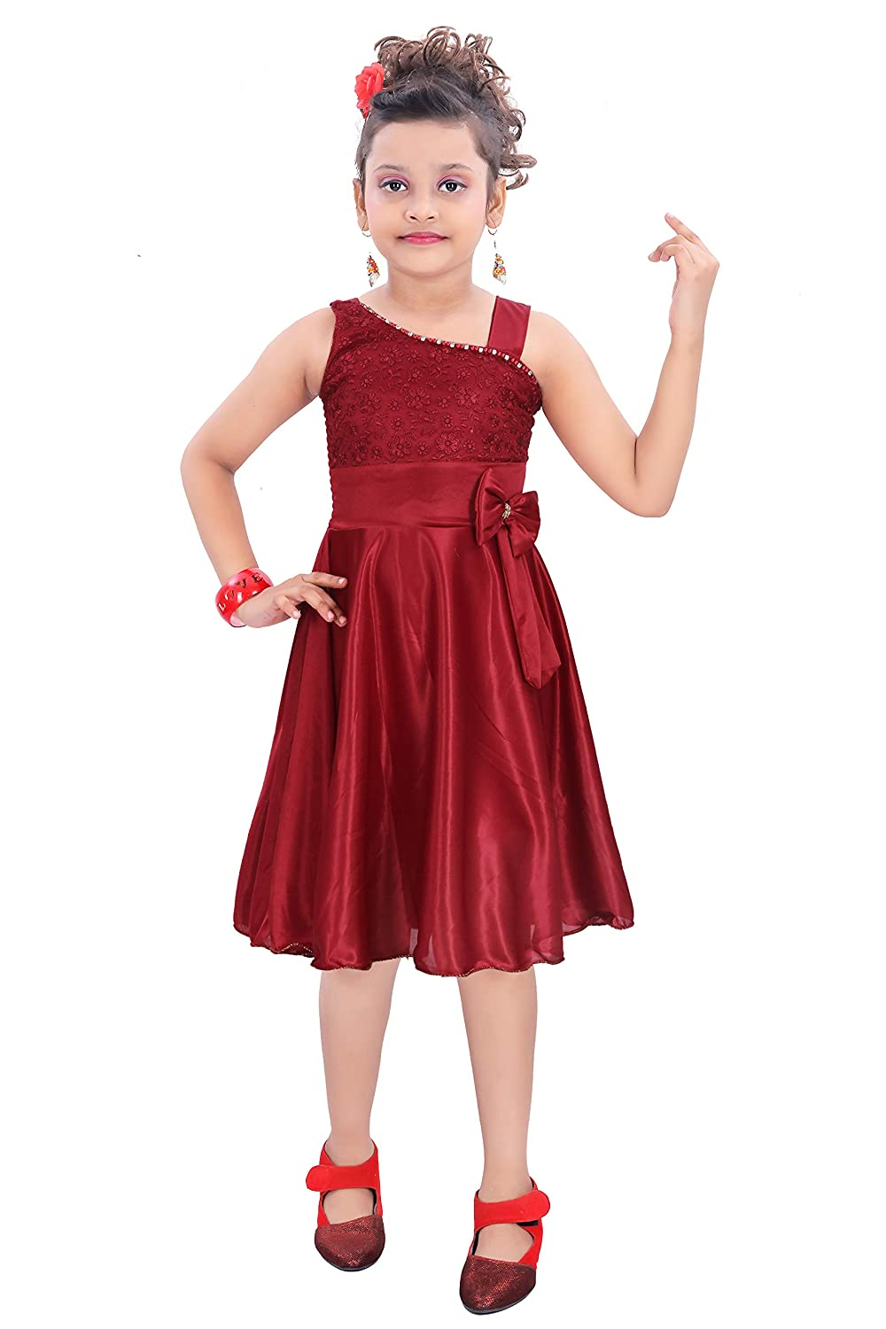 c759613210 Indian Evergreen Dress for Baby Girls Lycra Satin Chicken Work: Amazon.in:  Clothing & Accessories
