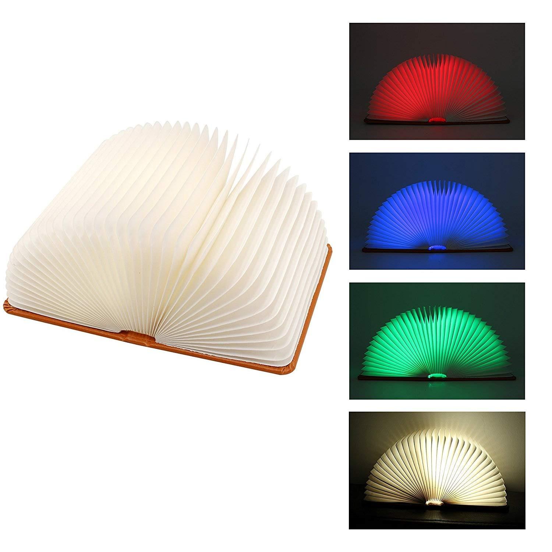 Faltbare Buchlampe, Macrourt LED Stimmungsbeleuchtung aus PU-Leder und Papier, 2000mAh mit USB-Kabel, Perfekte Geschenk für Kinder, Freund, Familen (L)