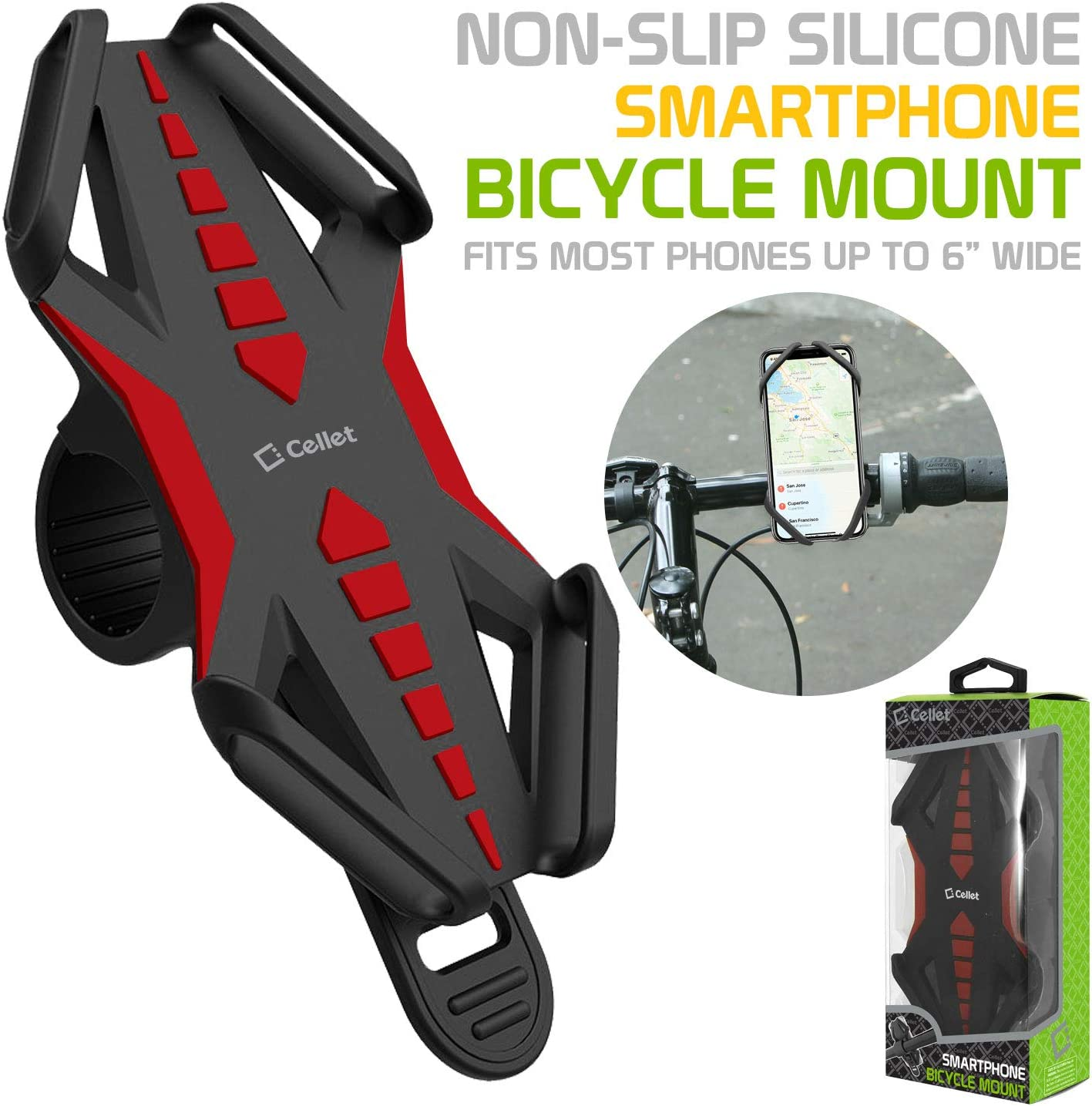 Green Universal Bicycle Holder Mount for Apple iPhone Xs//Max//Xr//X//8//8 Plus Samsung Note 9//8//5 Galaxy S9//S9 Plus//S8//S8 Plus//S7 Motorola Z3 Play//Moto G6//X4//Z2 Force//Z2 Play//Z Droid Bike Phone Mount