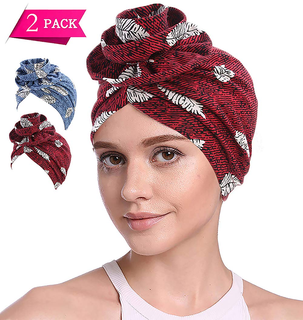 JarseHera Boho Cotton Turban Women's Flower Twisted Pleated Wrap Elastic Knotted Beanie Hair Loss Chemo Caps (2 Pair,Blue Feather+Wine Feather, One Size Fit All)