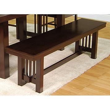 New 5 Foot Long Dark Brown Wood Dining Bench