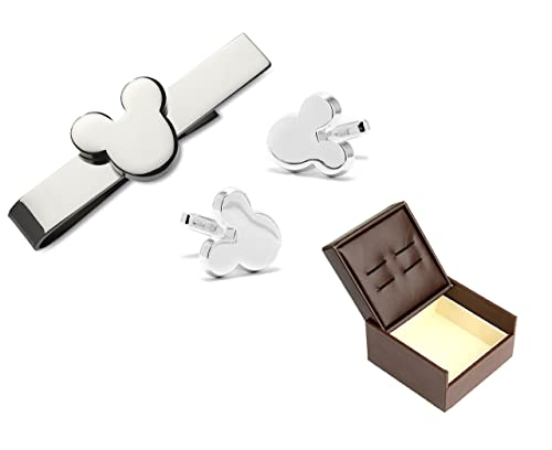 80b6cc3cf3e5 PONTITIES Walt Disney Mickey Mouse Silver Tone Tie Bar and Mickey Mouse  Silhouette Silver Tone Cufflinks Set + Gift Box: Amazon.ca: Jewelry