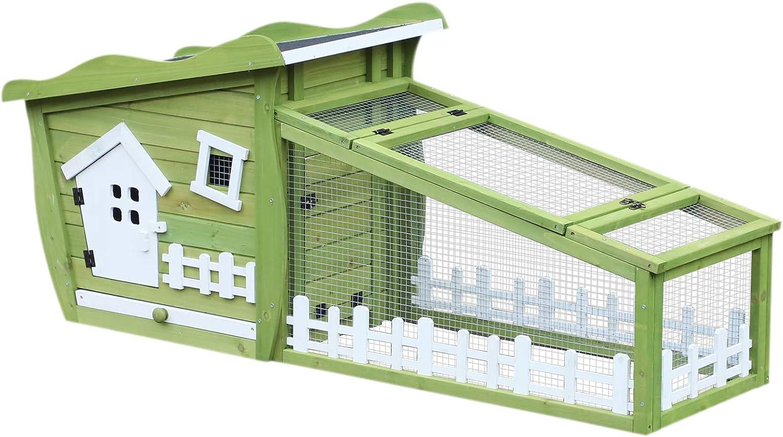 Pawhut Conejos Jaula de Conejos Estilo cabaña y Pré Dim. 155L X 55L X 65H cm Multi-équipement Madera Maciza Pin Verde Blanco: Amazon.es: Productos para mascotas
