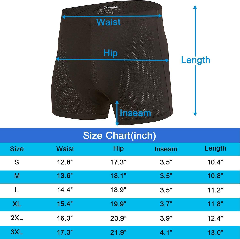 Ligera y Transpirable REEHUT Pantalones Cortos de Ciclismo para Hombre El/ástica para Profesionales y Principiantes Ropa Interior para Ciclistas con Acolchado 3D