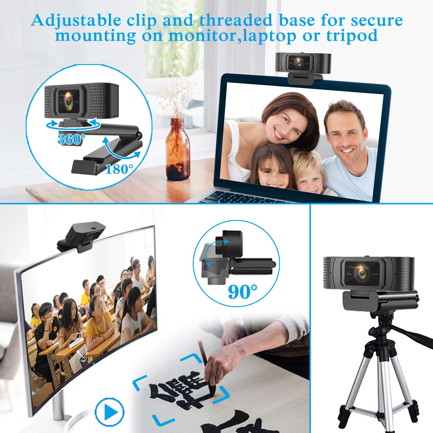 Webcam with Privacy Shutter Autofocus Web Camera Streaming Xbox Skype Camera PC HD Computer Camera 1080P Pro Webcam with Dual Microphones OBS YouTube Twitch Compatible