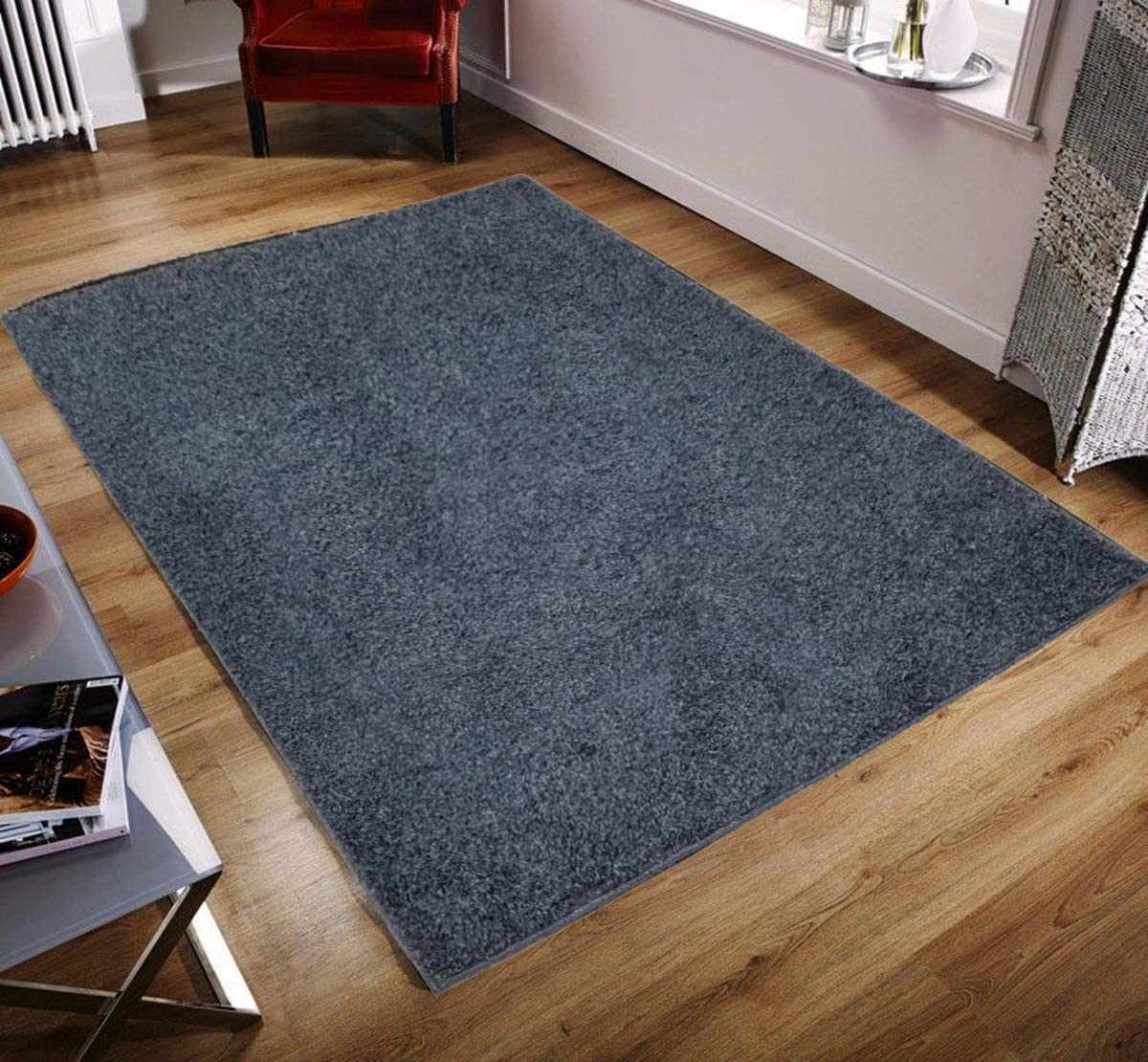 """Pyramid Home Decor Area Rugs Cozy Shaggy Area Rugs 5x7 for Living Room, Bedroom, Kitchen, Kids Room, Gloss, Soft, Easy Clean Shag Rug Contemporaryt, Blue 5x7 (4'9"""" x 7"""") 71jYRXy77xLSL1200_"""