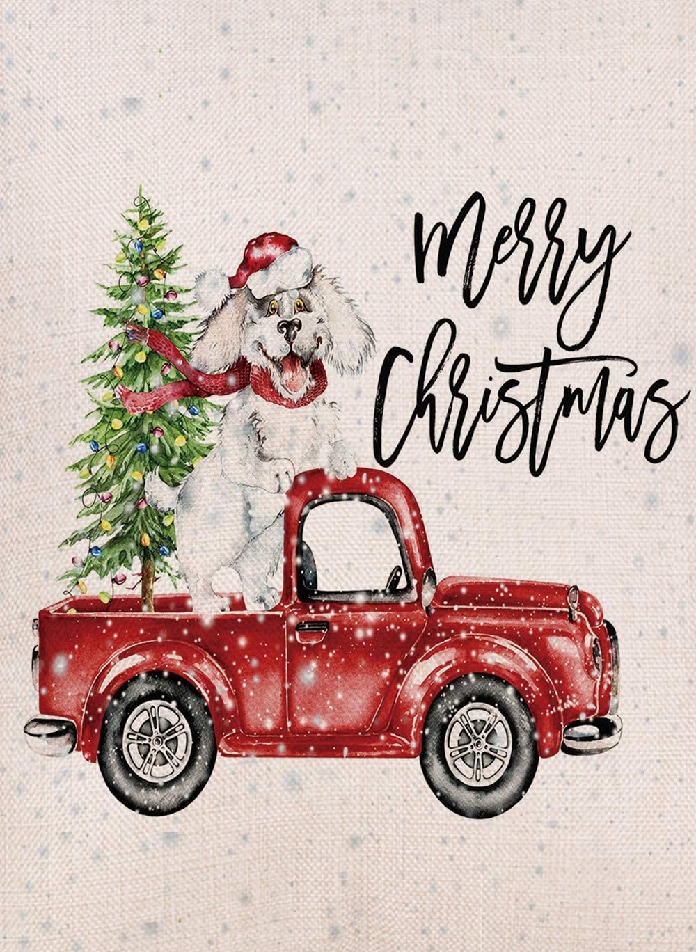 Furiaz Decorative Merry Christmas Garden Flag, Xmas Outdoor Flag Sign with Red Truck Christmas Tree, Dog Rustic Burlap House Yard Flag Vintage Winter Outside Decoration Home Decor Flag 12 x 18