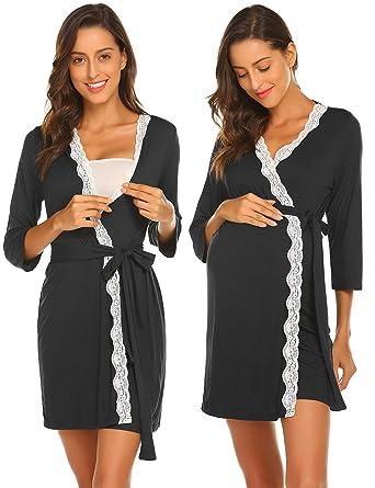 Ekouaer Loungerwear Robe Women s Long Sleeve V-Neck Lace Trim Loungewear  Black L 378fad6ed