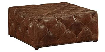 Amazoncom Porter Large Square Distressed Brown Leather Tufted - Distressed leather ottoman coffee table