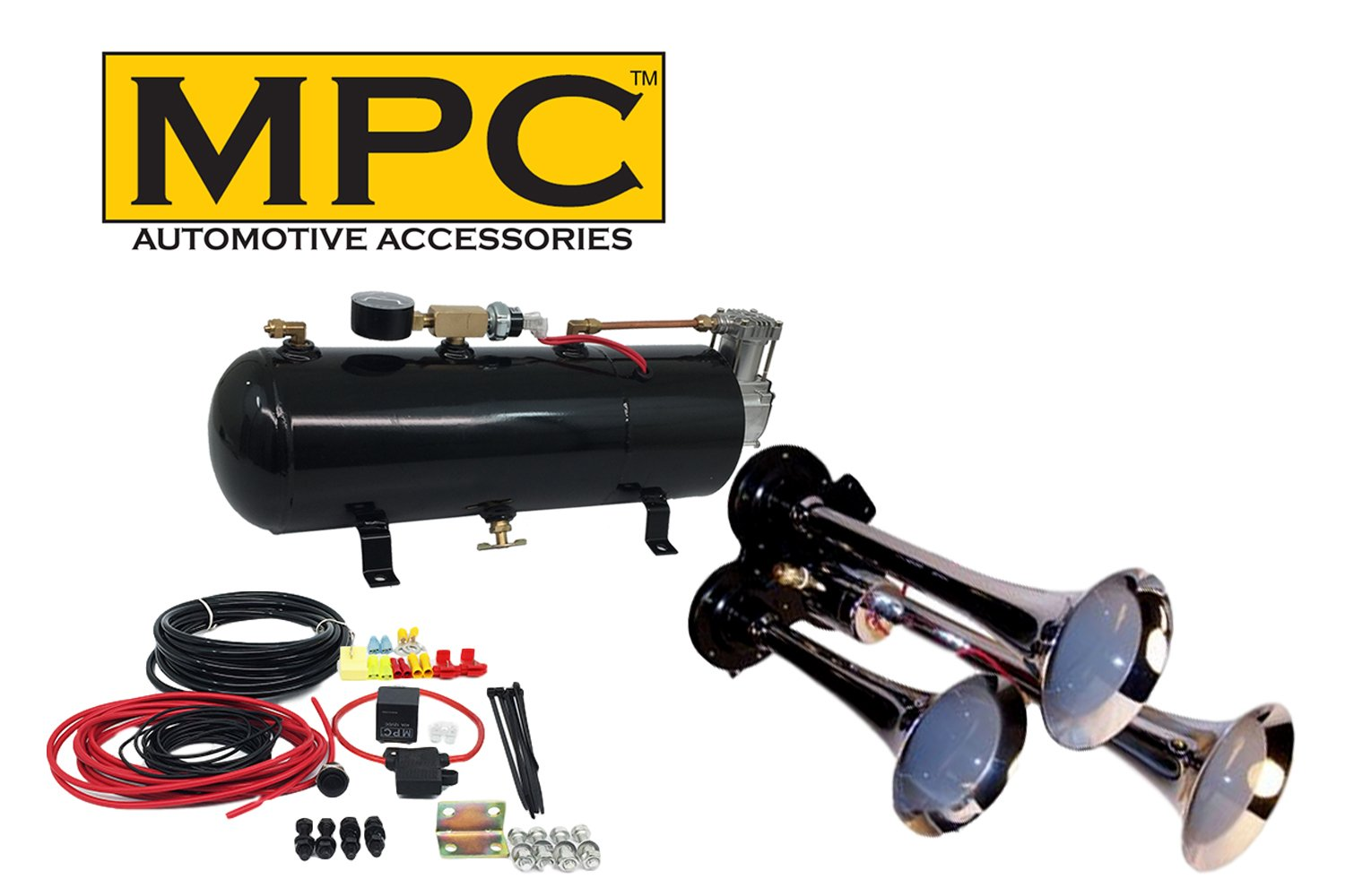 3 trumpet train air horn kit - fits almost any vehicle: truck, car,