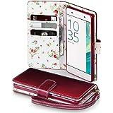 Sony Xperia XA Cover, Terrapin Handy Leder Brieftasche Case Hülle mit Kartenfächer für Sony Xperia XA Hülle Rot mit Blumen Interior