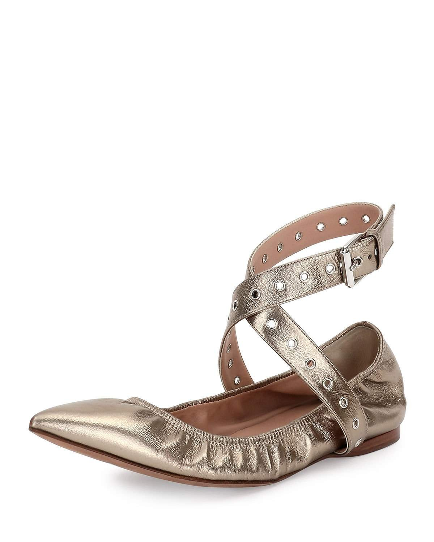 Valentino Love Latch Metallic Ankle-Wrap Flat, Alba 36.5(6.5)