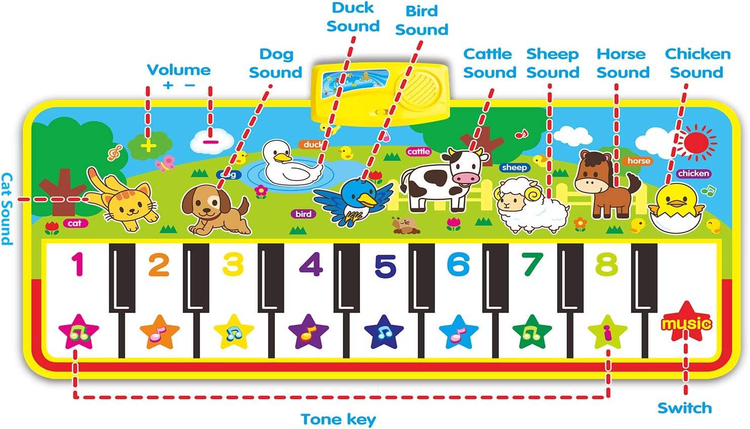 Tapis de Jeu pour Clavier de Piano Couverture Musicale Educative Electronique Portable Haut-Parleur Int/égr/é et Fonction denregistrement pour Filles et Gar/çons RenFox Tapis de Piano Musical