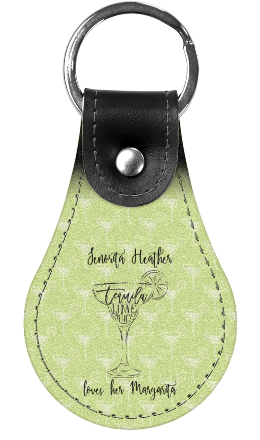 Margarita Lover Genuine Leather Keychain (Personalized)