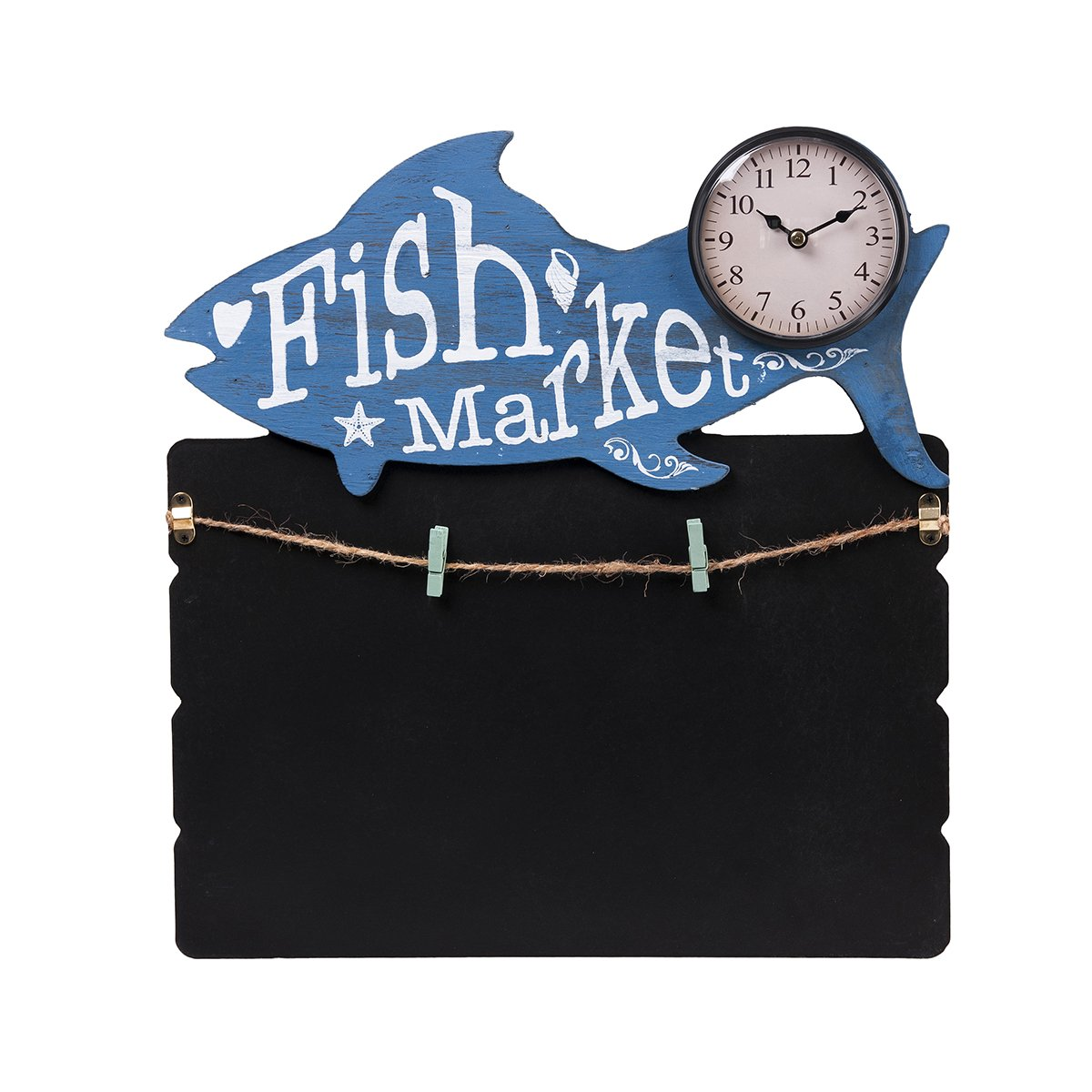 TORCH Decorative Small Lovely Animal Figure Wooden Chalkboard Messageboard with Mini Clock for Hanging and Organizing Prints, Instax, Photos, Artwork (FIS)