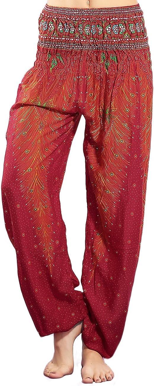 CHRLEISURE Elephant Hippie Harem Pants for Women Boho Gypsy Beach Palazzo Indian Pants