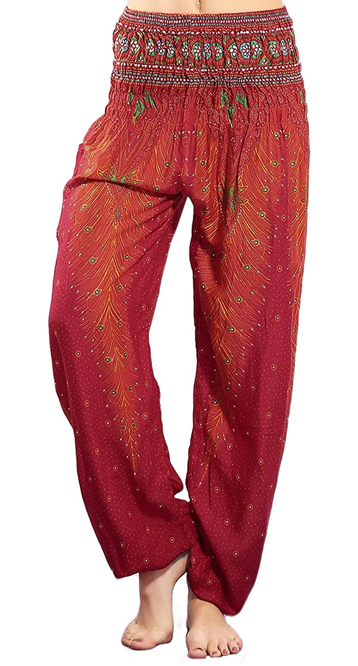 CHRLEISURE Women's Boho Yoga Harem Pants Hippie Indian Gypsy Loose Peacock Print Beach Pants