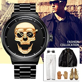 Amazon.com: JIANGYUYAN Skull Analog-Quartz Watch Stainless-Steel Black 173901: Watches
