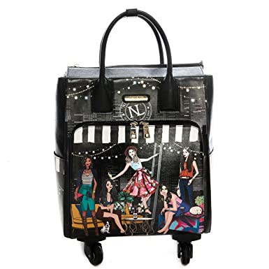 Graphic Rolling Tote Bag With 4 Spinner Wheels And Electronic Compartment (Black)