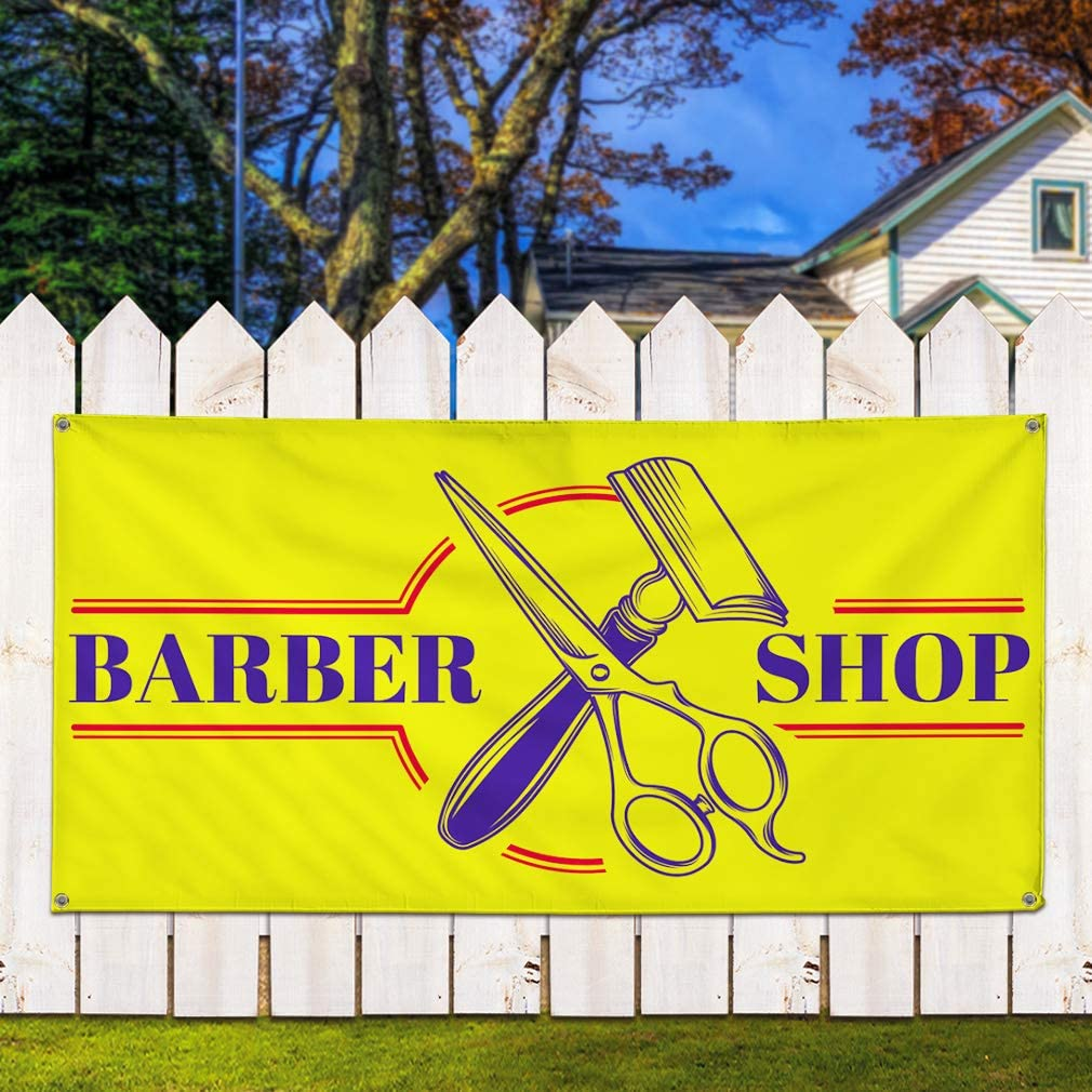 Set of 2 Vinyl Banner Sign Barber Shop #1 Style C Business Outdoor Marketing Advertising Yellow 6 Grommets 32inx80in Multiple Sizes Available