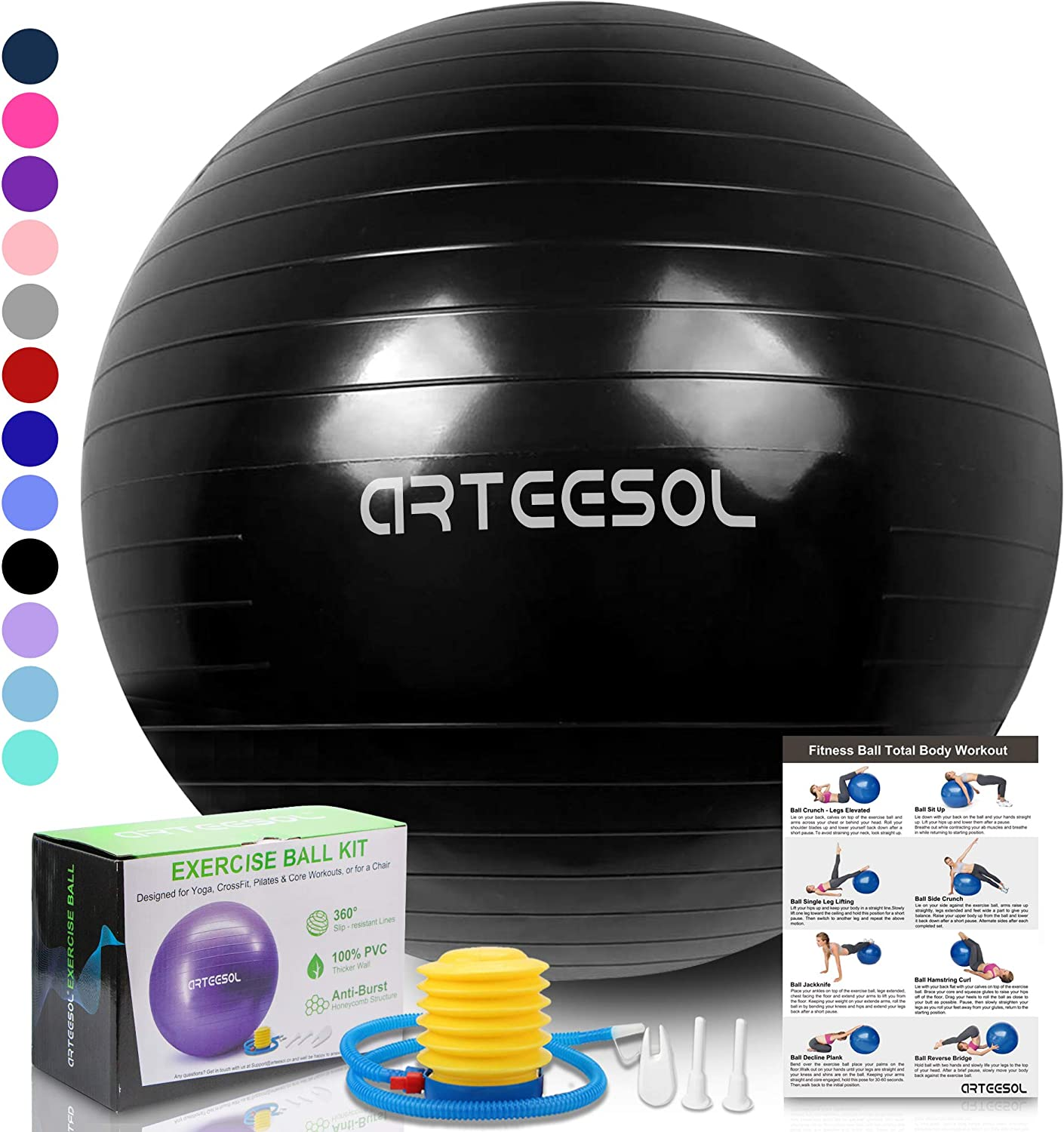 arteesol Exercise Yoga Ball, Extra Thick Stability Balance Ball (45-85cm), Professional Grade Anti Burst&Slip Resistant Balance, Fitness&Physical ...