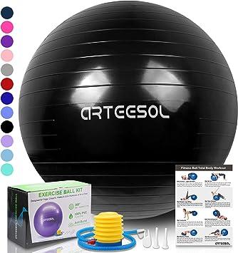 arteesol Exercise Yoga Ball, Extra Thick Stability Balance Ball (45-85cm), Professional Grade Anti Burst&Slip Resistant Balance, Fitness&Physical ...