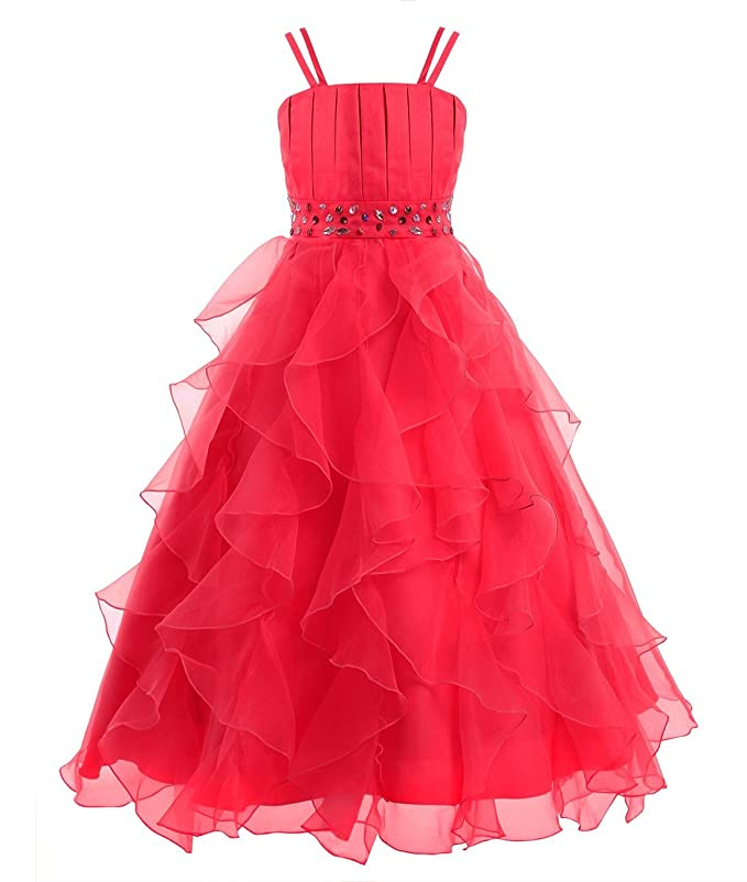 Amazon.com: iiniim Girls Organza Princess Party Pageant Wedding Prom Gowns Flower Girl Dress: Clothing