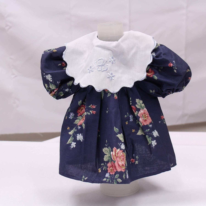 Bambola Vestito Blu con Rose modello e colletto di pizzo–Gr. 48 kawenSTOFFE