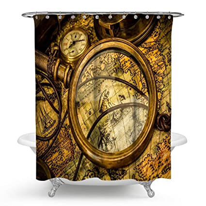 huakz vintage world map compass ancient global art historical shower curtain 3d magnifier old map of
