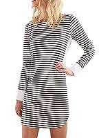Women's Tunic Striped Patchwork Long Sleeve Swing Loose Slim Above Knee Length T-Shirt Dress