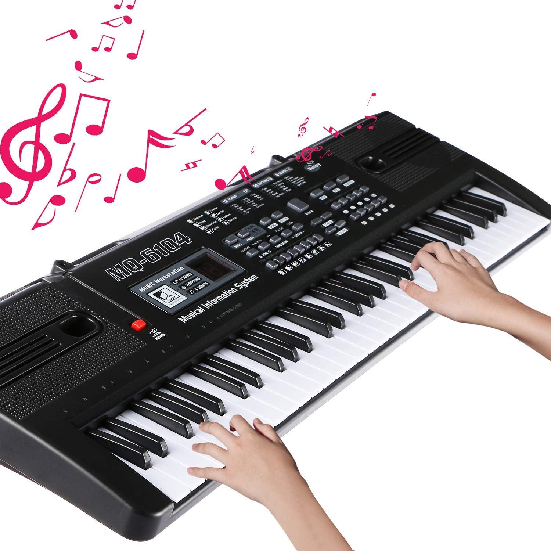 Teclado Electrónico Piano 61 Teclas, RenFox Keyboard Piano Portátil USB Piano Digital Con Micrófono, Musical Digital Piano para principiantes o estudiantes (negro)