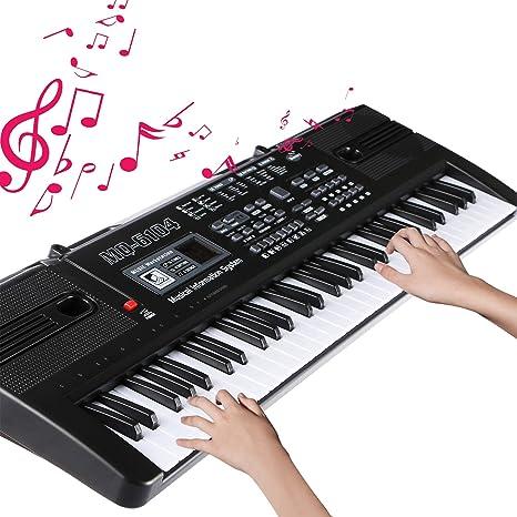 Teclado portátil de 61 teclas Teclado de Piano Para Niños/Adultos (negro)