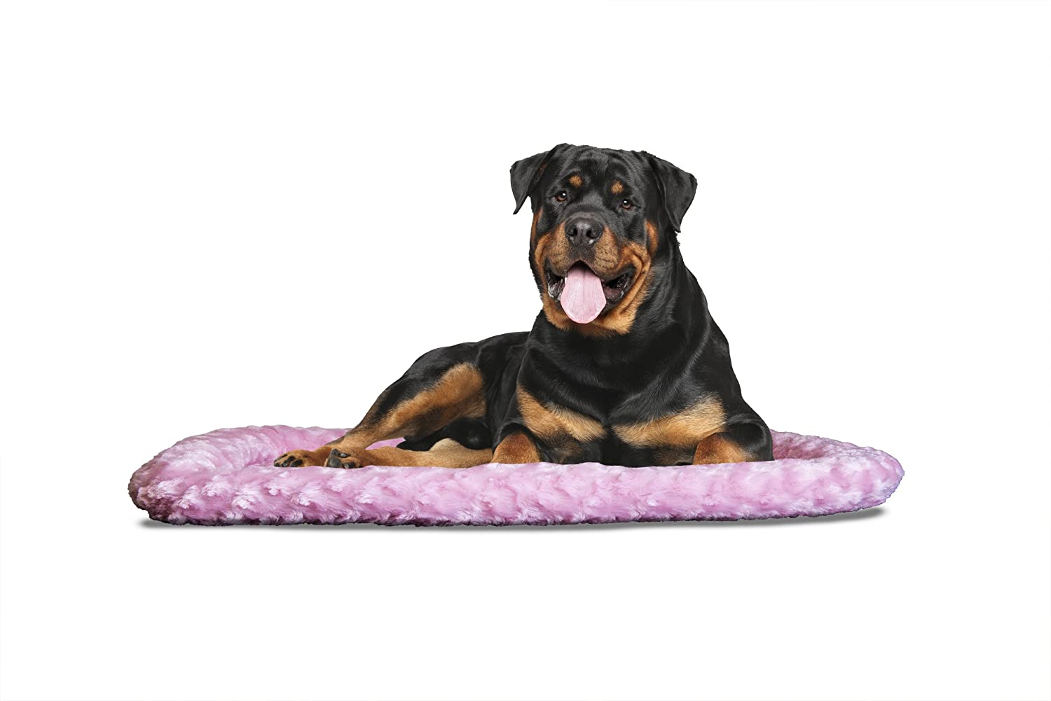 FurHaven Pet Kennel Pad   Ultra Plush Bolster Pet Bed for Kennels & Crates, Strawberry, Jumbo