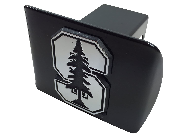 Stanford University METAL emblem on black METAL Hitch Cover AMG
