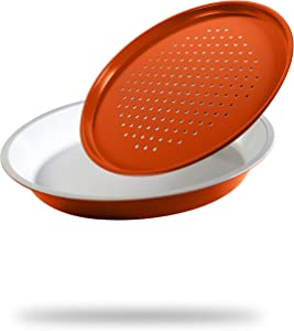 Colorful Cuisine 12 inch, 2-Piece Pizza Pan Set – Set Include Deep Dish Pizza Pan, Perforated Crisper and Panhandle – Strong Non-Stick Ceramic Coating makes them Easy to Clean. Vibrant colors