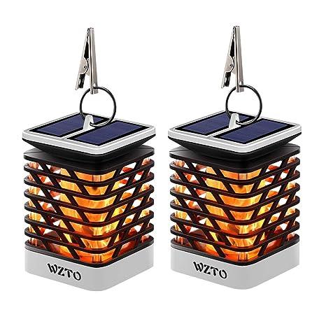 Llama Solar Luces WZTO Lámpara de Fuego Solar 75 LED IP55 Impermeable Apagar y Encender Automáticamente