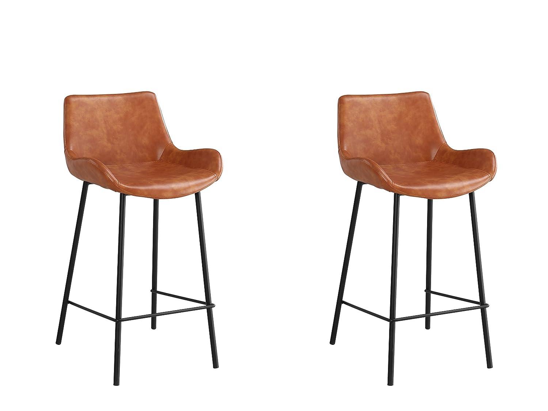 Meubles House DREN Modern Kitchen Island Counter Stool 26-Inch H-orange PU (Set of Two), Single, orange