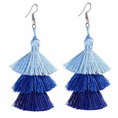 83e3d4c10 Tassel Earrings Thread Tiered Tassel Dangle Earrings Statement Layered  Tassel Drop Earrings for Women Girls