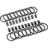 Shappy 20 Pack Metal Curtain Clips Rings Drapery Curtain Rings with Clips, Black