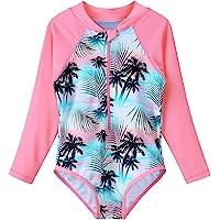 TFJH Girls Swimwear 4-11Y SPF UPF 50+ UV One Piece Long Sleeve Rash Guards