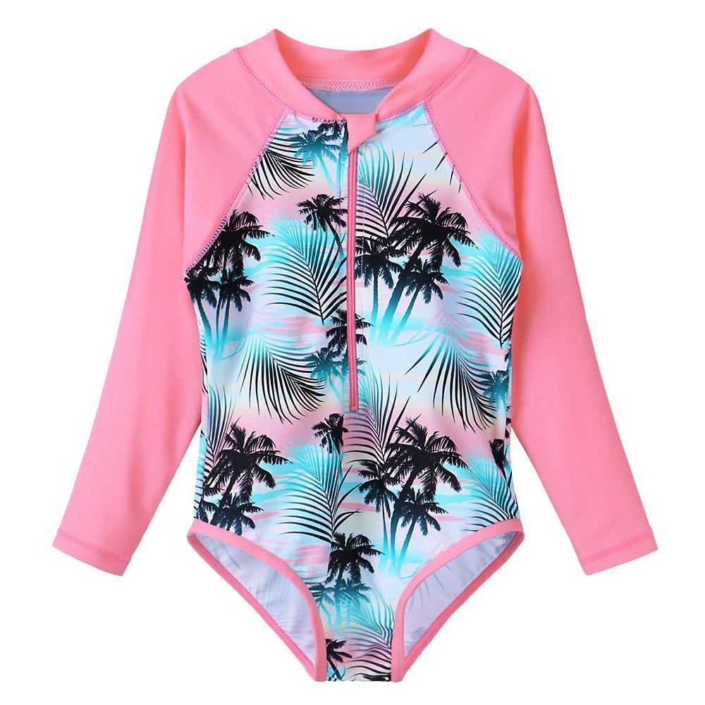 TFJH E Kids Girls Rashguard Swimsuit UV 50+ Long Sleeve One Piece Swimwear,Green Pink,10-11Y(Tag No.152/158)