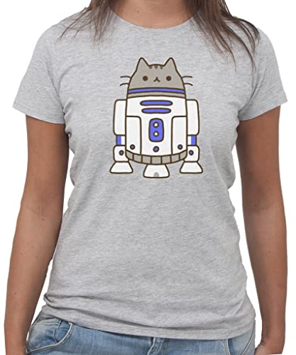 T-Shirt STAR WARS PUSHEEN R2D2 New Indastria by New Indastria – Donna-S-GRIGIO SPORT