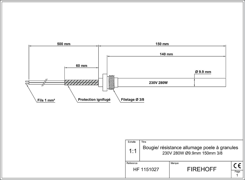 Buj/ía de encendido para estufa de gr/ánulos con bornes 140//150 mm rosca 3//8 FIREHOFF di/ámetro 9,9 mm 280 W