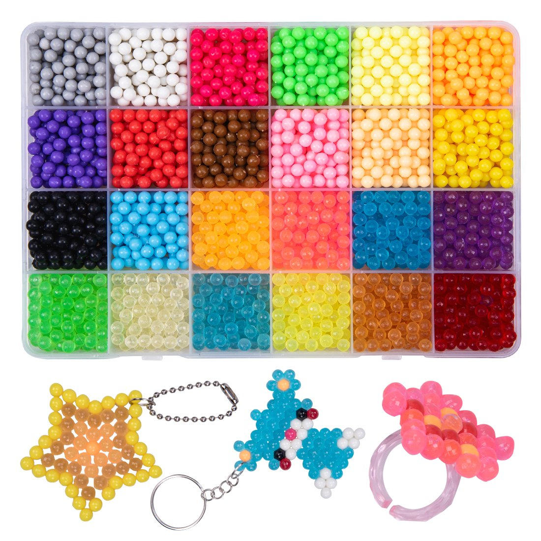 GARUNK Fuse Beads Refill, 24 Colors Water Spray Craft Beads Set Compatible with Aquabeads and Beados Art Crafts Toys for Kids Beginners 3200 Classic and Jewel Beads with DIY Pegboard Kits